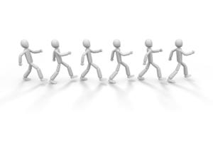 同じ方向へ歩く6人の人型アイコン