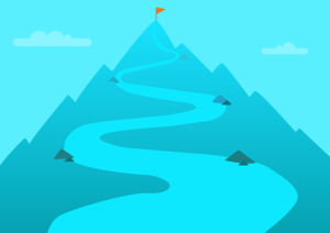 山頂に立つ旗とそれに向かう道