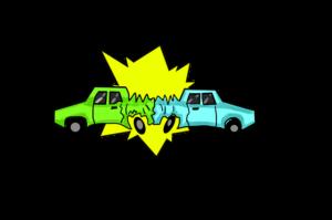 正面衝突する車