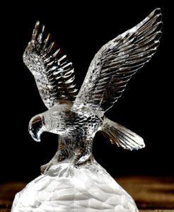 ガラス彫の鳥