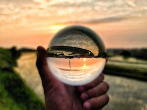 水晶と夕陽